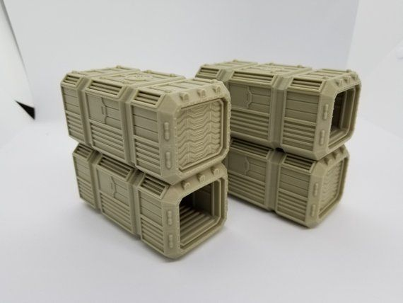 3d Printed Sci-Fi Smaller Scale Crates for youre 28mm - 32mm
