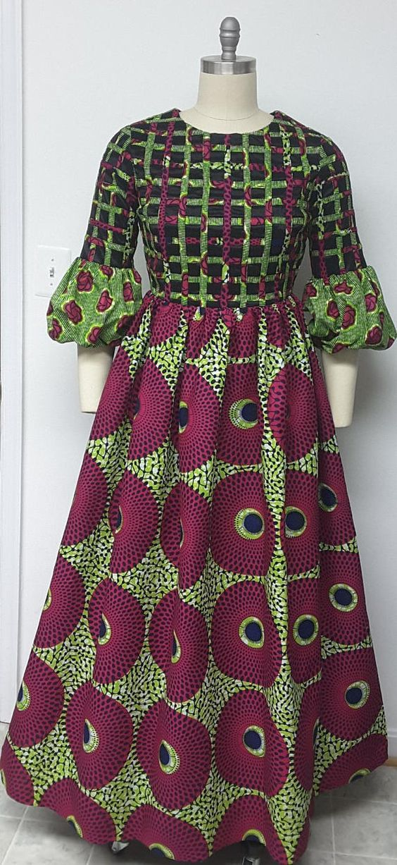 f2c11e0657672d AYAWAX Collection. Multi African Print Maxi Dress. Lattice Front and ...