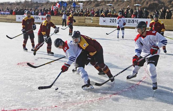 PAST TIME -  The commemoration Ice hockey game for Canadian troops deployed in Korean War is held at the final point of Paju bicycle torch relay for PyeongChang 2018 Olympics on Jan. 19 in Paju, South Korea.