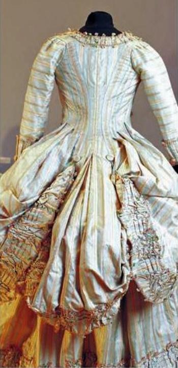 Robe a la polonaise (rear view), France, 1772, striped silk.| Les Belles de Mai.: Deux siècles de mode à Marseille