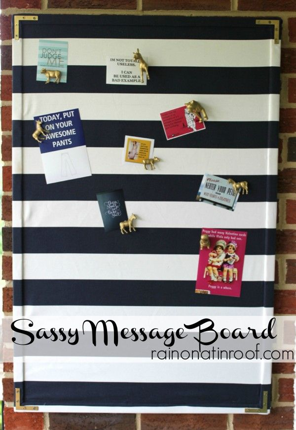 Love this fabric covered message board!