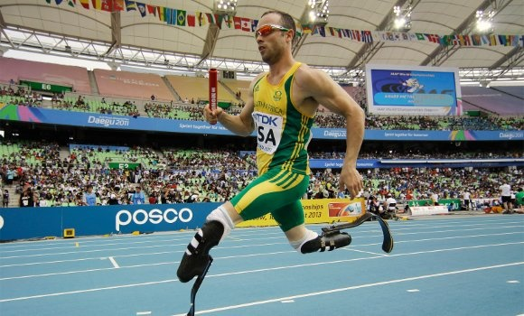 Oscar Pistorius, the first double leg amputee to compete at the Olympic games.