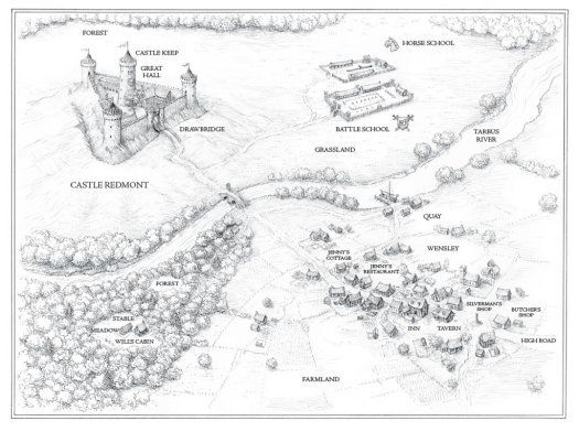map of Castle Redmont and its surroundings