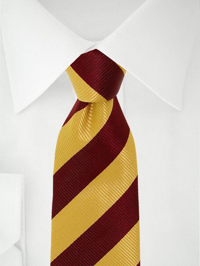 Cravate jaune à bandes rouge bordeaux à 7 plis