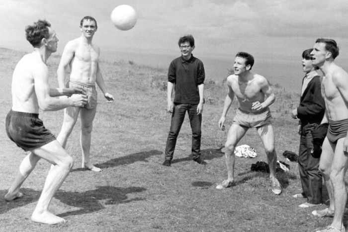 Hearts first team players enjoy a break from training at Gullane beach in East Lothian in August 1965. Picture: TSPL
