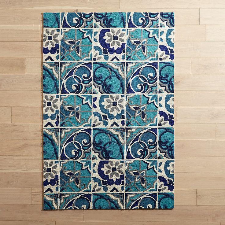 "Green Patio Rug 5x7: Turquoise Broken Tile 5x7'6"" Rug"