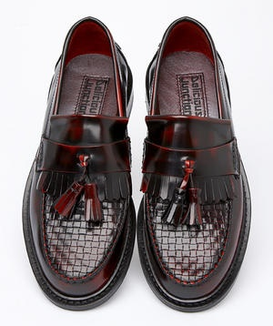 Delicious Junction (real rude shoe brand) ox blood loafers with woven upper. I would kill for these.