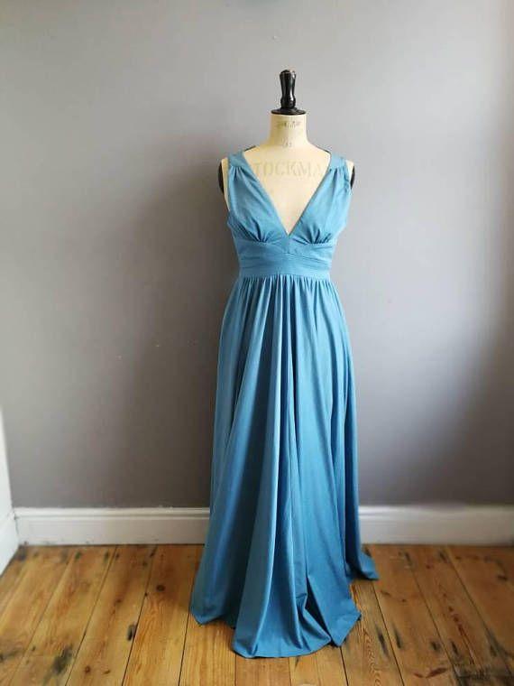 I love this gorgeous long teal grey maxi dress. Boho 70s  maxi dress /  evening dress / Grecian long dress UK 6- 8