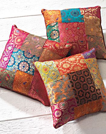 Brocade patchwork cushion cover, assorted colours