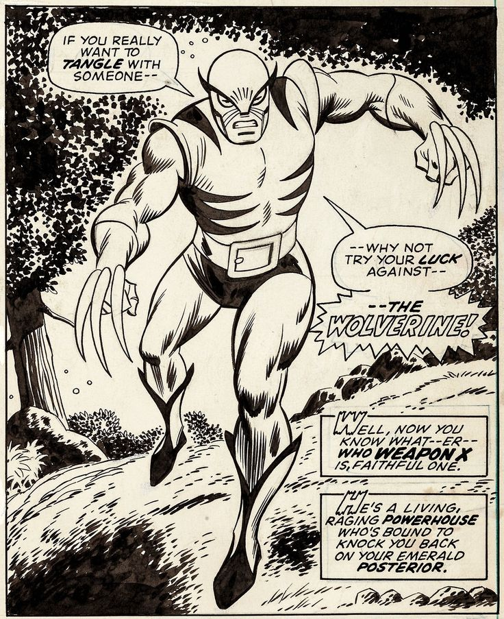 Herb Trimpe and Jack Abel's original art from Wolverine's first appearance, in Incredible Hulk #180. Scanned nicely enough that you can see ...