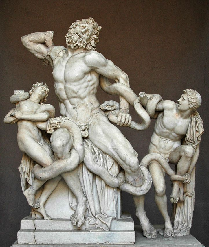 The Laocoon group. Greek Sculpture - Trojan priest Laocoon has warned his compatriots against accepting the wooden horse in which Greek soldiers are hiding. The Olympians take their revenge.