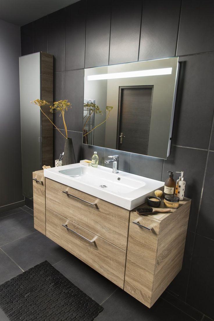 best from leroy merlin un meuble vasque avec portes imitation chne avec de nombreux rangements. Black Bedroom Furniture Sets. Home Design Ideas