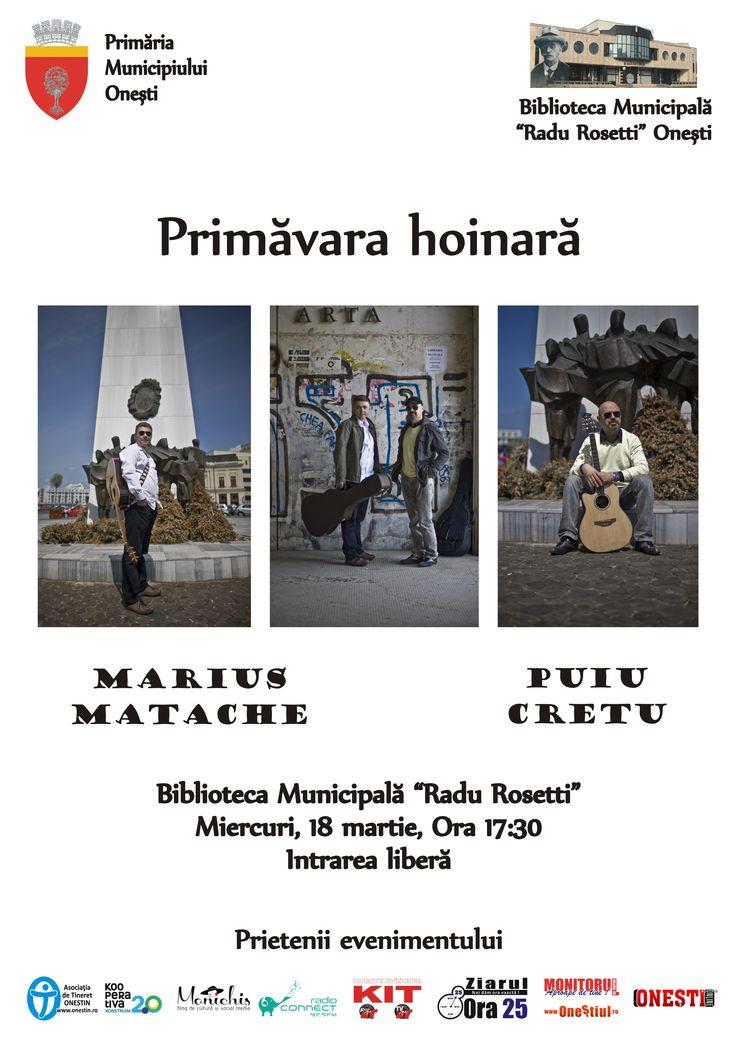 """Miercuri, 18 martie, Biblioteca Municipala """"Radu Rosetti"""" Onești, ora 17:30"""