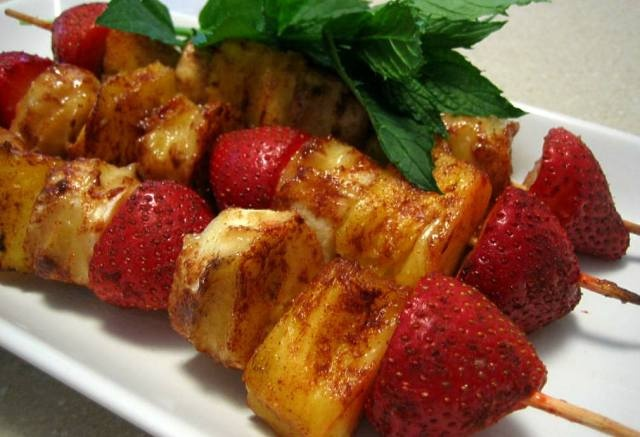 Grilled fruit kabobs. The perfect summer dessert.