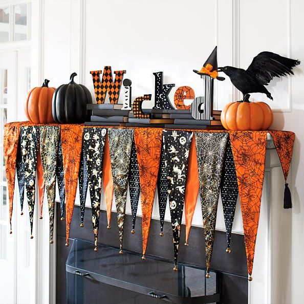 No Sew Halloween Mantel Decor No Sew Halloween Decorations for the Mantel