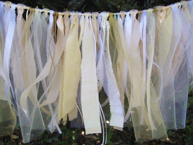 Wedding Decoration, Wedding Garland, Wedding Banner, Rustic Wedding Decor, Shabby Chic Fabric Garland, Cottage Chic, Bridal Shower Decor. $65.00, via Etsy.