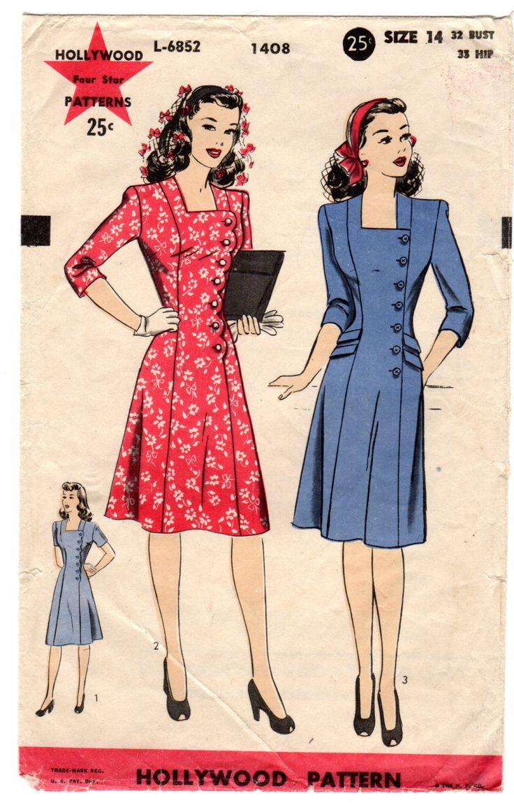"Vintage 1940s Hollywood Four Star 1408 Asymmetrical Square Necked Princess Seams Scalloped Dress Sewing Pattern Size Bust 32"" by BizzieLizzies on Etsy"