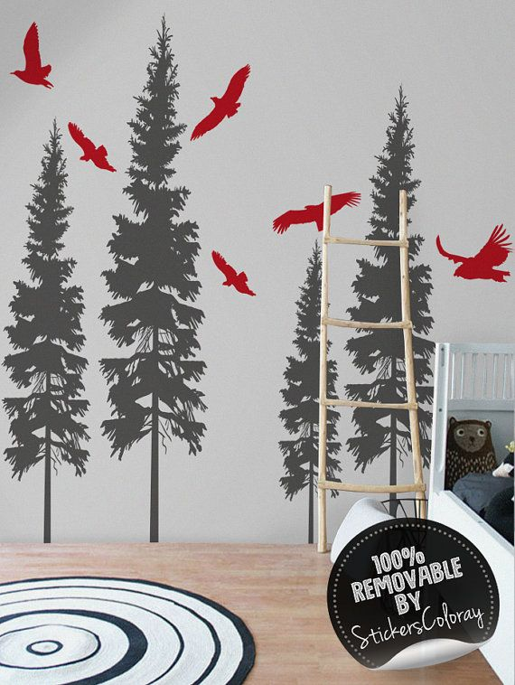 Birds in forest wall decal, Peel and stick, Removable, Trees wall decor, Woodland wall decal, Conifer, Wall sticker #3