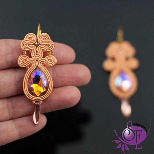 Soutache earrings - light peach - crystals by SzkatulkaEmi on Etsy