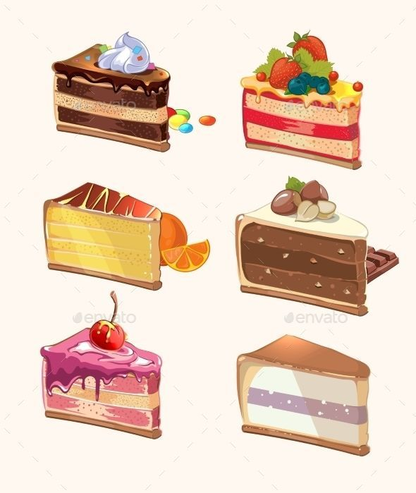 Piezas De Pastel De Dibujos Animados Snack Delicioso Baya Y Sabroso Pastel Con Cereza Comida Dulce Cartoon Cake Dessert Illustration Cake Illustration