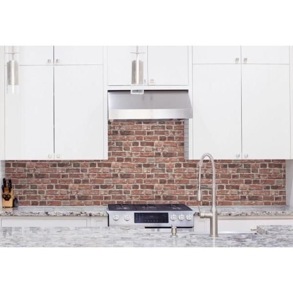 Nextwall Distressed Red Brick Vinyl Peelable Wallpaper Covers 30 75 Sq Ft Nw31700 The Home Depot Peel And Stick Wallpaper Red Brick Wallpaper Red Bricks