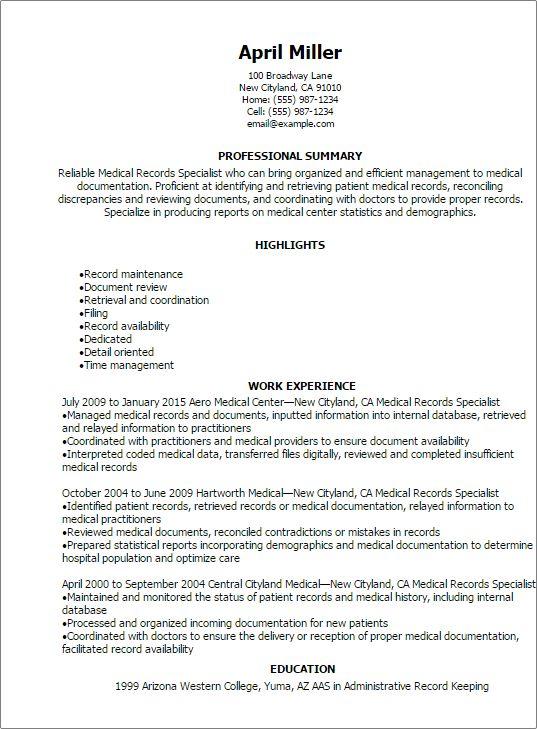 Medical Records Specialist Resume Resume Teamplates Favorite Medical  Records Clerk Sample Resume   Medical File Clerk  Unit Clerk Resume