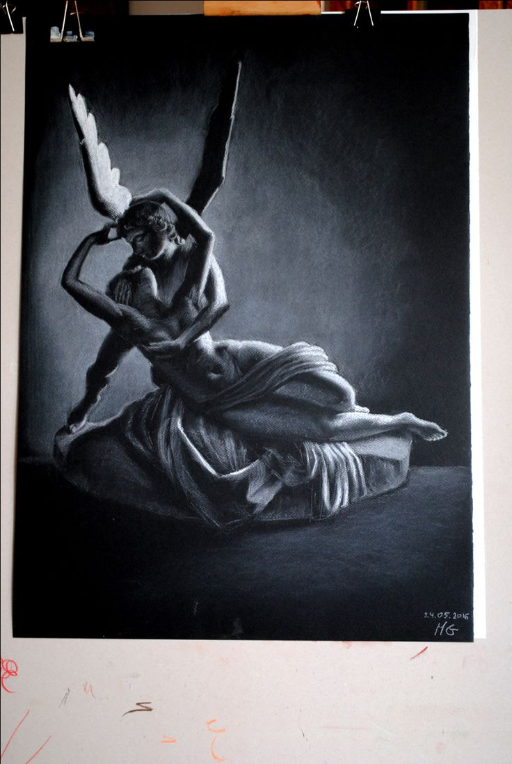 Amor and Psyche, soft pastel, white on black