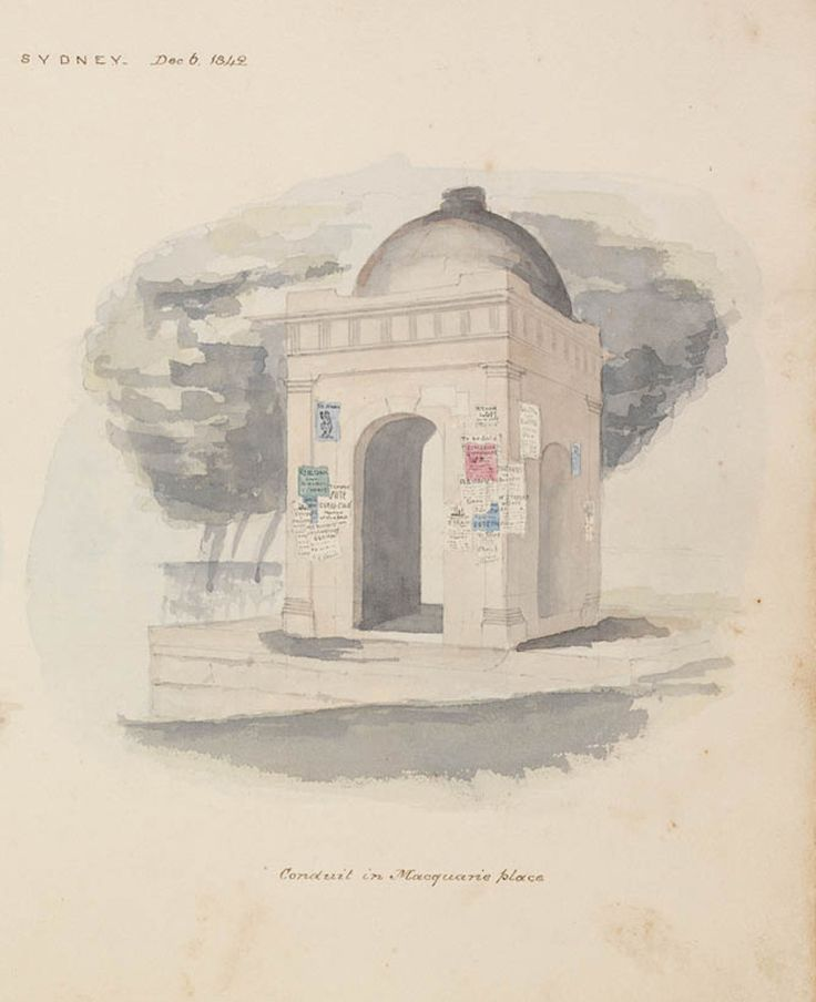 Sandstone Doric fountain designed by Francis Greenway and Mrs Macquarie. It was built in 1819 by stonemason, Edward Cureton and demolished c1883 to make way for statue of Thomas Sutcliffe Mort.