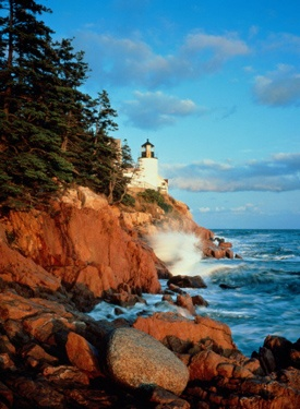 In Maine, Mt. Desert Island and the Bar Harbour Lighthouse entice visitors to Acadia National Park.