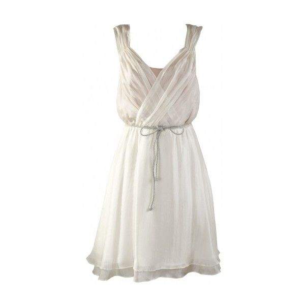 Ivory/Champagne Silk Races Dress with Cross Over Bust by Grace & Hart ($130) ❤ liked on Polyvore