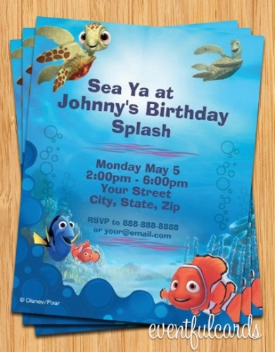Finding Nemo Birthday Party Invitation...Think we will do this for Nehemiah's 2nd bday, swim party!