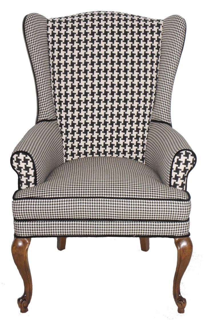 houndstooth wingback armchair vintage refurbished via etsy