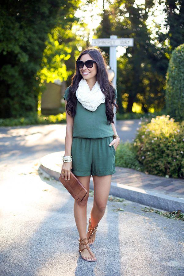 Green romper and cream scarf.