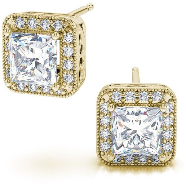 2.90ctw Halo Box Princess Cut Diamond Stud Earrings in 18k Yellow Gold... ($14,799) ❤ liked on Polyvore featuring jewelry, earrings, 18 karat gold earrings, gold diamond earrings, gold earrings, 18k yellow gold earrings and diamond earrings