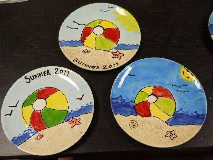 Beach ball summer plate made at Paint a Piece Commack NY & 419 best CERAMIC PLATES so personal images on Pinterest | Gift ideas ...