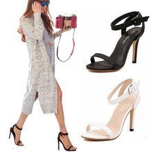 Hot Koop 2016 Europese en Amerikaanse Zomer Sandalen Vrouwen Dunne Hoge Hakken Ronde open Sandalen schoenen Hot Schoenen wit/Zwart(China (Mainland))