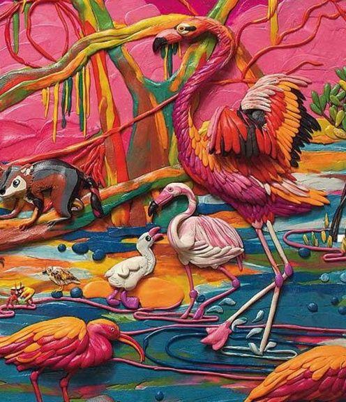 картины из пластилина фламинго, птицы