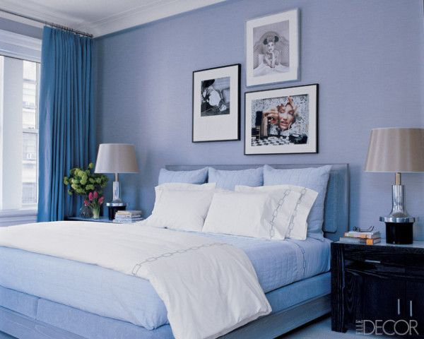 Bedroom: blue walls and accent bedding