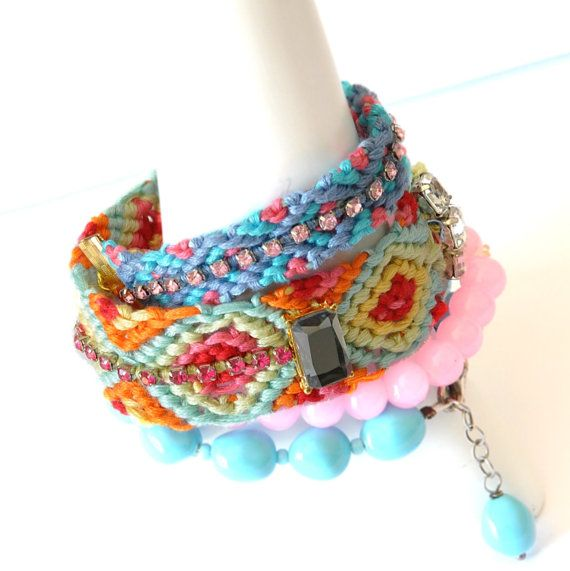 Boho chic Bracelets -  Friendship Bracelets - Arm Candy Bangle - Arm Cuff - Arm Party Bracelets - Multicolor Bracelets - Summer Accessories