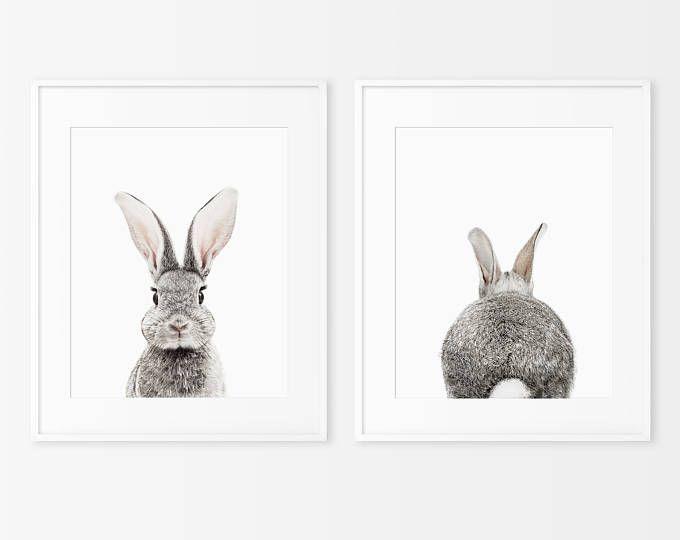 Set van 2 Bunny Prints, Decor van de kwekerij, Animal Prints voor kwekerij, afdrukbare kwekerij Bunny, Instant Download, konijn Print, konijn Butt staart