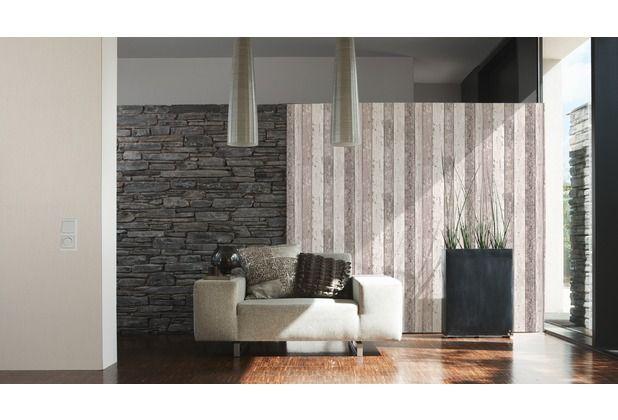Stein Backstein Kombination Holz Trend Tapeten Design Wanddekor Style Ascreation Hertie As Creation Farben Und Tapeten Mustertapete Holztapete