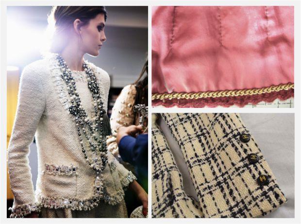 La chaqueta de tweed tipo Chanel . Su corte limpio de cuello su mítico punto de lana entresacado, el característico ribeteado y algunos otros detalles, como la cadeneta o pequeñas perlas, se han convertido en símbolos identificativos de esta prenda.