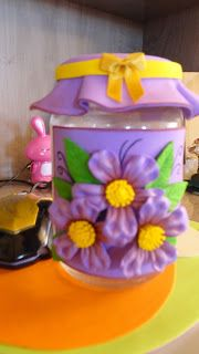 Herthal art's:   vidro decorado com e.v.a flores lilas