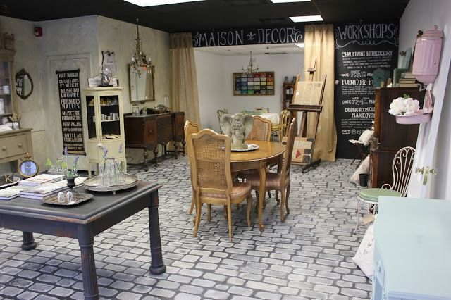 faux cobblestone floors with Chalk Paint in Paris Grey and Fench Linen