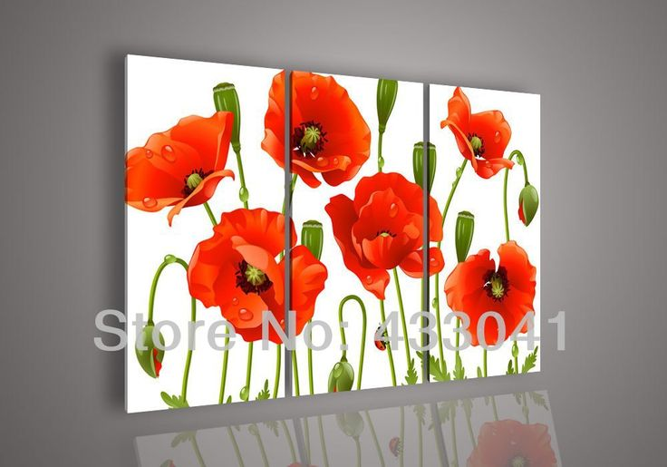 3 panels modern wall painting wall picture Hand painted Abstract art Acrylic Flower Red Poppy Oil Painting On Canvas No Framed(China (Mainla...