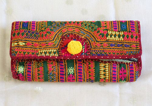 Vintage Kutch Embroidery Clutch (Design 35) – Desically Ethnic