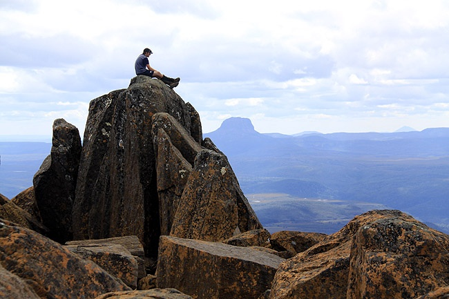 Enjoying the views from Mt Ossa, Tasmania's highest peak – a 3-4 hour return hike off the track. photographer: Joanne Lane