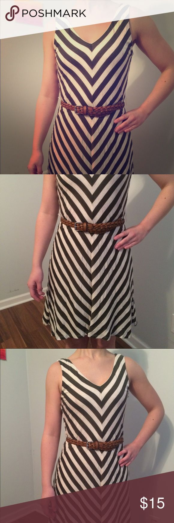 Chevron Print High-Low Dress Cream and olive chevron pattern, asymmetrical high-low hemline. Belt not included. As U Wish Dresses High Low