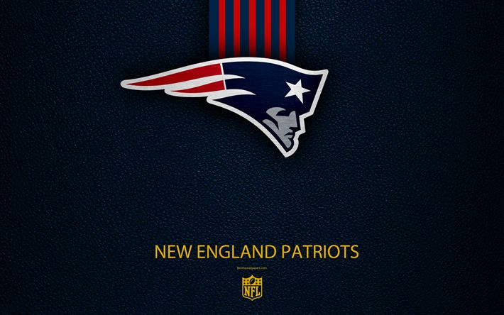 Download wallpapers New England Patriots, 4k, american football, logo, leather texture, New England, USA, emblem, NFL, National Football League, Eastern Division