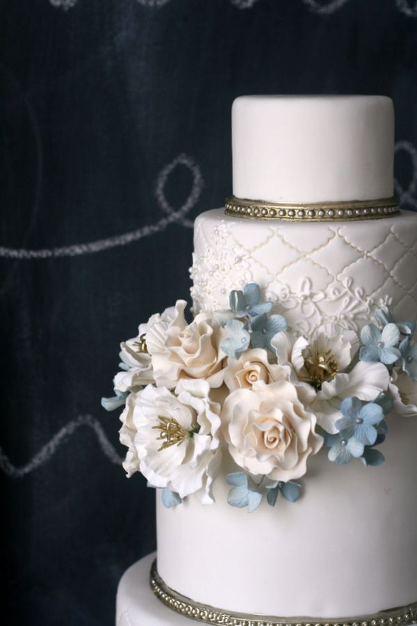 cake by the caketress. 4 tier - see wedding flower inspiration for the bottom tier.